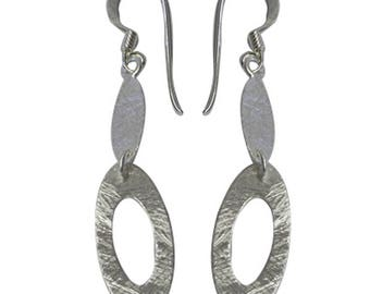 Silver earrings 925 Silver earrings women's jewelry two ellipses (No. OS-66)