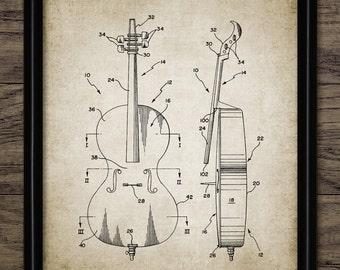 Cello Patent Print - 2001 Cello Design - Stringed Instrument - Classical Music  - Musician Gift Idea - Single Print #2144 - INSTANT DOWNLOAD