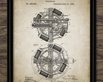 Edison Phonograph Patent Print - 1888 Phonograph Design - Thomas Edison Phonograph Invention - Single Print #2254 - INSTANT DOWNLOAD