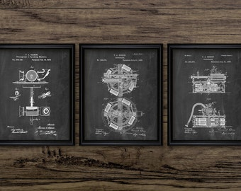 Edison Phonograph Patent Set Of 3 - Phonograph Design - Thomas Edison Phonograph Invention - Set Of Three Prints #2259 - INSTANT DOWNLOAD