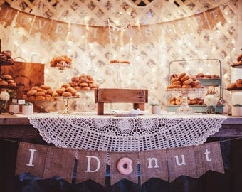 Love is sweet bunting banner, Doughnut wedding sweet treats candy bar buffet table decor