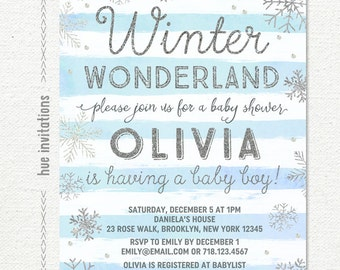winter wonderland baby shower invitation boy, blue silver snowflake baby shower invitation, winter baby shower invitation, printable file