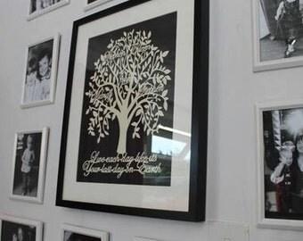 Framed Hand Cut Family Tree - 8- 30+ Names