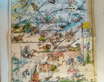 Rare Old Board Game, Game Board, Vintage Board Game Soviet Board Game From 1960s, Circus, Snakes And Ladders Soviet Version