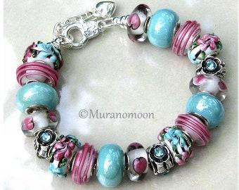 Pink Aqua Flower Heart Glass Bead Charm Bracelet Aquamarine Crystal Charms European Bracelet One Of A Kind Special Gift For #EB1556