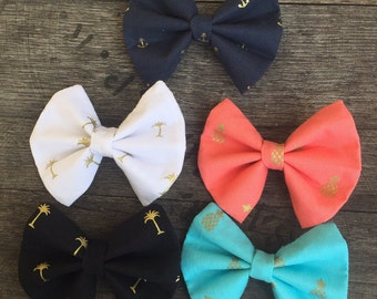 Summer Preppy Bow Pack with Pineapples and Palm Trees and Anchor