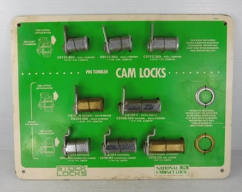 National Cabinet Lock Hardware Store Display Advertising Board Vintage 1970s