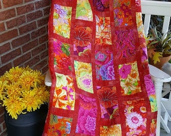 Flower Bed  Quilt kit with Kaffe Fassett fabric.  Varies sizes
