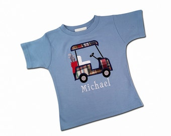 Boy's Golf Birthday Shirt with Golf Cart and Embroidered Name