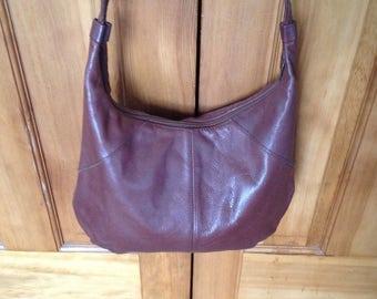 Vintage Antonia Designs brown leather hobo handbag purse