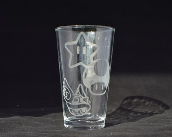 mario kart etched pub glass