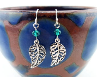 Silver leaf earrings - leaf jewelry - small leaf earrings - silver leaves - leaf dangle earrings - nature earrings - dainty earrings beaded