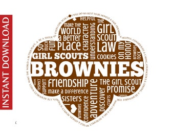 Brownie Girl Scout Word Art * * Digital Image * * DIY Printable * * Instant Download