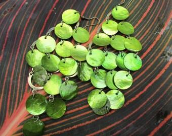 Green dangly earrings, drop and dangle earrings,vintage dangly earrings, very longdrop earrings,metallic green shade,glorious green earrings