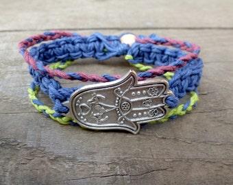 Boho Hamsa Bracelet. Hemp Bracelet. Wooden Beads. Hamsa Hand. Zen. Hippie. Boho.