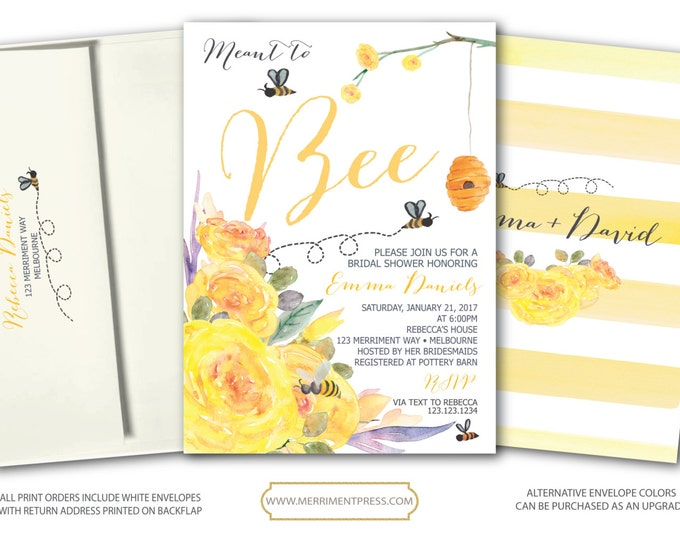Bee Bridal Shower Invitation // Yellow Bridal Shower Invitation // Stripes // Floral // meant to bee // Watercolor // MELBOURNE COLLECTION