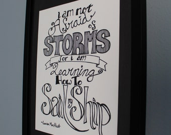 Hand Lettered Quote Ship in a a Storm