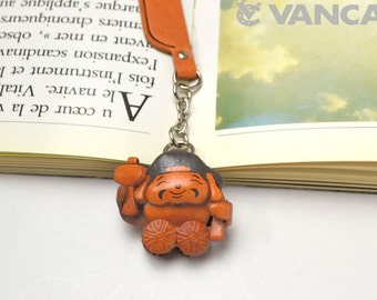 Daikoku God Leather Charm Bookmark/Bookmarks/Bookmarker *VANCA* Made in Japan #61590 Free Shipping