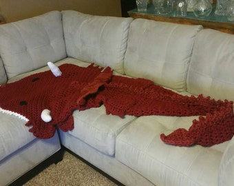 Crochet Dragon afghan, throw, snuggle sack, cocoon, blanket, sizes newborn to adult mens. Mjs off the hook designs pattern
