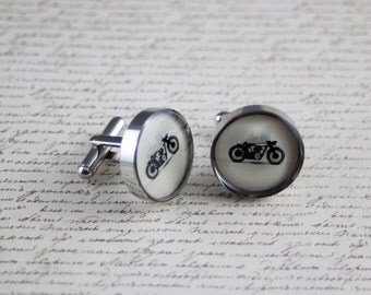 Resin cufflink, vintage motorcycle, motorbike, cafe racer, round