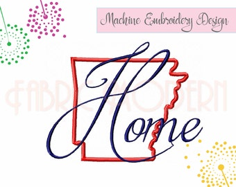 Arkansas Home Embroidery Design, multiple sizes, larger sizes are applique'