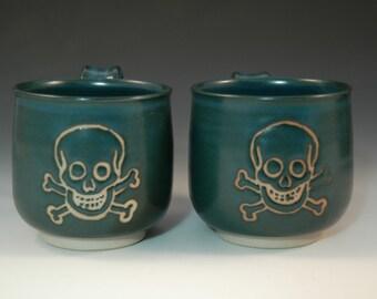 Hand Thrown Mug, Pottery Skull Mug, Turquoise Jolly Roger, Stoneware Coffee Cup, Handmade Pirate Mug, Gift Under 30, Hostess Gift, Unique