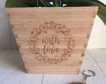 Bamboo with love engraved plant pot and keyring set can be personalised
