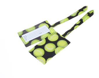 tennis luggage tag, tennis gift, fabric luggage tag, travel bag tag, tennis bag tag, gym bag tag, girlfriend gift, team gift