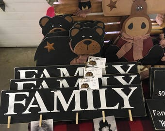 Family photo sign