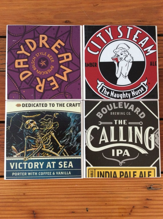 Craft Beer Coasters-Set of 4 Ceramic Coasters