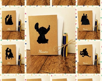 Peter Pan, Stitch, Princess Inspired Childrens Kids Personalised Colouring Book with Pencils