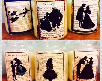 Beauty and the Beast, Alice in Wonderland, Little Mermaid Inspired Scented Large Bell Jar Candles