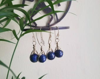 Lapis Herringbone earrings. Herringbone earring. Wire wrapped earrings. 14k goldfilled earrings