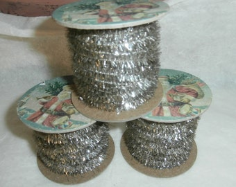 Vintage look mini garland silver color for Christmas ornament crafting or tree decorating