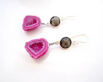 Bright Pink Druzy Earrings, Smokey Quartz, Drop Earrings, Boho Luxe, Dangle Earrings, Pink and Brown