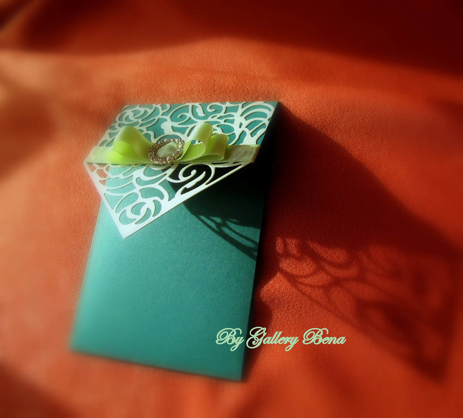 Pocket Wedding Invitations Carved cards Green Birthady Greeting ...