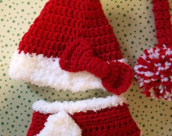 crochet baby girl Christmas stocking hat and diaper cover newborn girl stocking hat and diaper cover newborn girl Christmas outfit