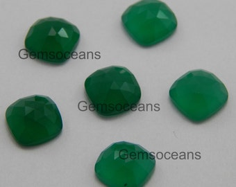 25 Pieces Lot Green Onyx Octagon Cushion Rose Cut Loose Gemstone