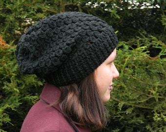 Crocheted Slouchy Hat in Black