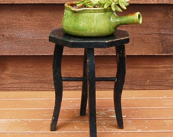 Small Plant Stand, Vintage Wooden Plant Stand, Tiny Table, Black Painted Stand