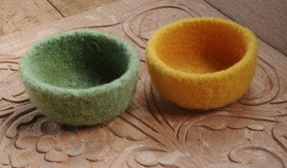 Two felted wool bowls, light green and yellow, Easter Baskets, spring decoration,Waldorf inspired