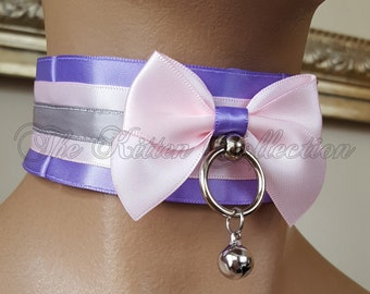 """SALE! 12"""" Lilac, Pale Pink, and Slate 1.5"""" Pleated Satin Lined Tug Proof Kittenplay Petplay Collar"""