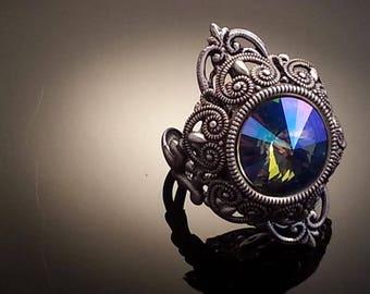 Swarovski Crystal Vintage Ring | Statement Ring | Victorian Ring | AB Crystal | Victorian Jewelry | Dawn Santucci | Metal di Muse