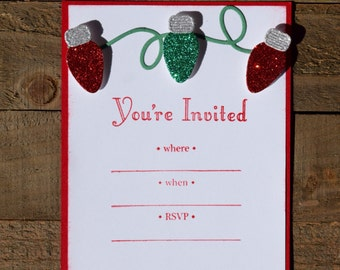 Christmas Party Invitations, Christmas Light Party Invitations, Holiday Party Invitations, Christmas Dinner Invitations (Set of 12)
