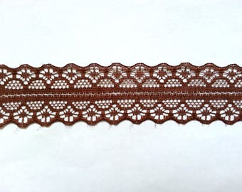 "10 Yards of Coffee Brown Lace Trim/ Coffee Brown Lace Ribbon 1.1"" (2.8 cm)"