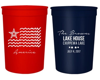 Independence Day Personalized Stadium Cups  16oz, Lake House Stadium Cup, Party Stadium Cups, American Stadium Cups, 4th Of July Cups (72)