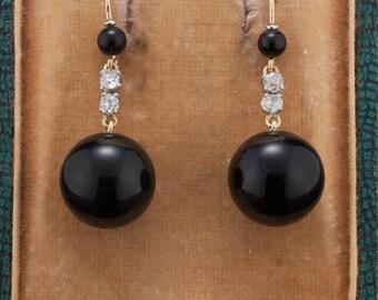 Art Deco diamond and onyx dramatic drop earrings