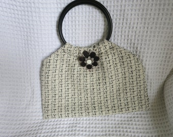 SALE! Mid-Century cosmetic holdall (could be used as a small handbag).  High quality wool fabric.  Hand made.  Fully lined.
