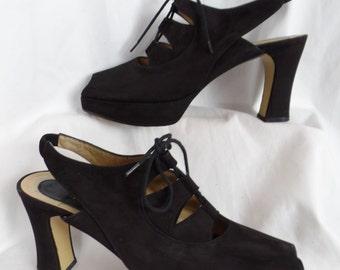 70s vintage CHARLES JOURDAN munster heel peep toe sling back lace up platform black suede Ghillies: size 9.5 M- fits 9-9.5 US
