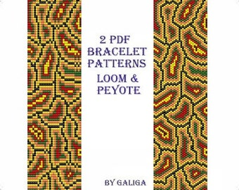 Peyote bracelet pattern for beading Istructions instant download Seed bead pattern Rasta bracelet Abstract pattern Jewelry pattern cuff